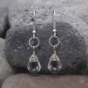 Clear Czech Glass and Silver Wire Wrapped Earrings